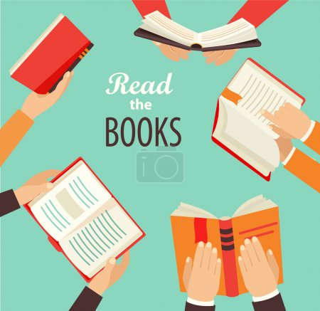 Illustration for Vector set of hands holding books - icons in flat retro style. - Royalty Free Image