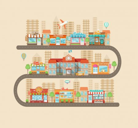 Illustration for Flat design modern vector illustration icons set of urban landscape and city life. Buildings icons. Shops and stores icons set in flat design style. Vector illustration. - Royalty Free Image