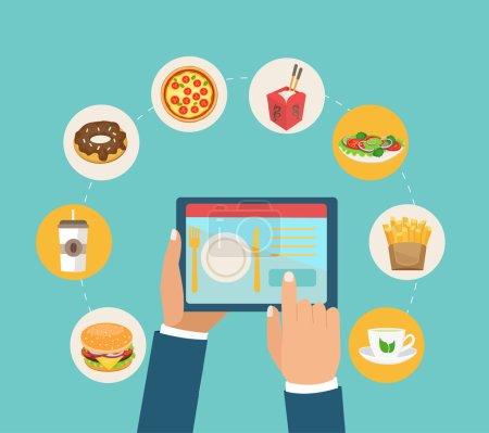 Illustration for Vector illustration of ordering food online on digital tablet - Royalty Free Image