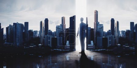 Concept of businessman and skyscrapers.