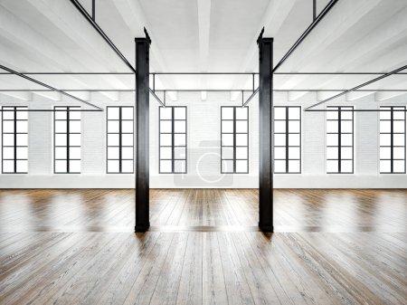 Photo of open space interior in modern loft. Empty white walls. Wood floor, black beams,big windows. Horizontal, blank mockup. 3d rendering