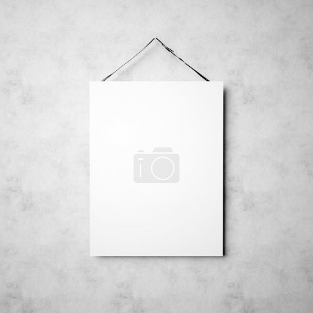 Photo of blank white canvas hanging on the empty concrete wall background. Square mockup. Ready for your message. 3d render