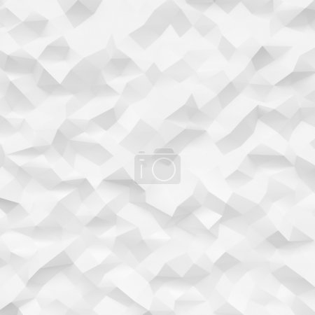Photo of highly detailed polygon. White geometric rumpled triangular low poly style. Square mockup. 3d render