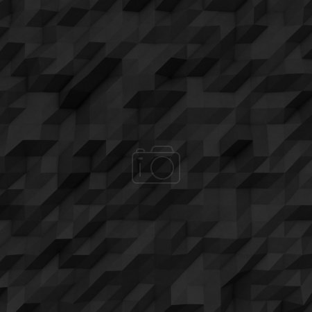 Photo of highly detailed black polygons. Black geometric rumpled triangular low poly style. Square. 3d render