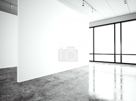 Photo exposition modern gallery,open space. Blank white empty canvas contemporary industrial place.Simply interior loft style with concrete floor,panoramic windows. Black, white. 3d Render
