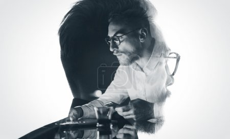 Portrait of stylish bearded lawyer wearing glasses and looking city. Double exposure, businessman working laptop at night, texting smartphone background. Isolated white. Horizontal, bw mockup