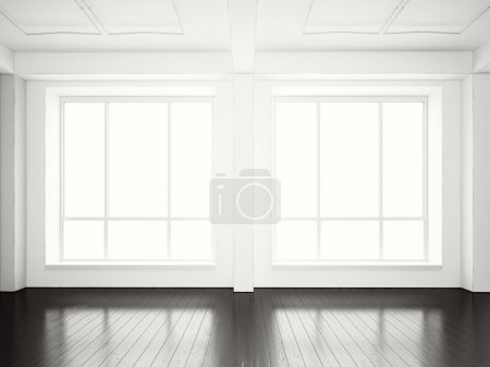 Photo for Open space office in modern building.Empty interior loft style with black wood floor and panoramic windows.Abstract background. Ready for business info. Horizontal mockup. - Royalty Free Image