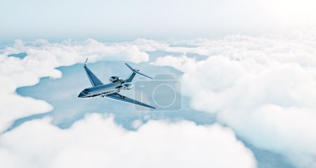 Photo of black luxury generic design private jet flying over the earth. Empty blue sky with white clouds at background. Business travel concept. Horizontal . 3d rendering