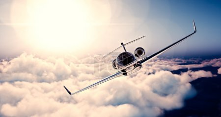 Image of black luxury generic design private jet flying in blue sky at sunset. Huge white clouds background. Business travel concept. Horizontal , front view. 3d rendering