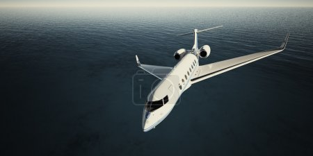 Photo of White Luxury Generic Design Private Jet Flying in Sky at night. Blue Ocean Background. Business Travel Picture. Wide. Film Effect. 3D rendering.
