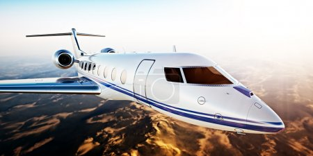 Realistic Photo of White Luxury Generic Design Private Jet Flying in Blue Sky at Sunset.Uninhabited Desert Mountains Background.Business Travel Picture.Horizontal,Film Effect. 3D rendering.