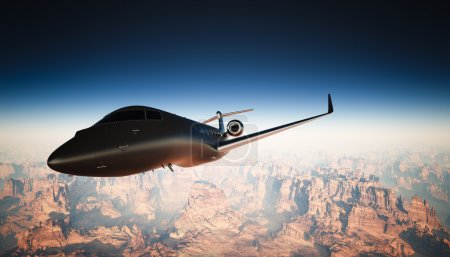 Photo Cabin Black Matte Luxury Generic Design Private Jet Flying in Sky under Earth Surface. Grand Canyon Background. Business Travel Picture. Horizontal, left angle view. Film Effect. 3D rendering.