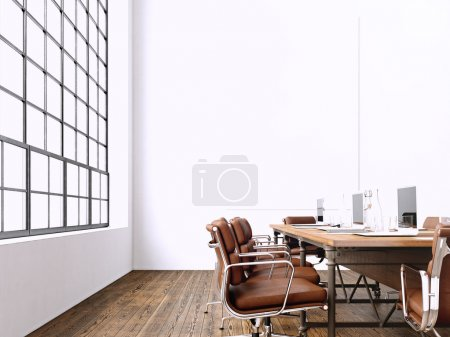 Interior modern meeting room with panoramic windows.Blank White Canvas on Wall.Generic Design Armchair and laptops in contemporary conference rom.Horizontal mockup. 3D rendering