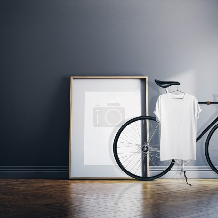 Photo Interior Modern Studio House with Classic bicycle.Empty White Canvas on Natural Wood Floor.Blank Tshirt hanging Bike. Horizontal mockup.