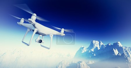 Photo White Matte Generic Design Modern RC Air Drone with action camera Flying in Sky under the Earth Surface. Grand Canyon Background. Horizontal, front side angle view. Film Effect. 3D rendering.