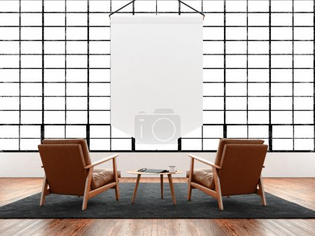 Modern interior studio loft huge panoramic window,natural color floor.Generic design furniture in contemporary business conference hall.Chillout lounge zone.Blank white pennant hanging. 3D rendering.