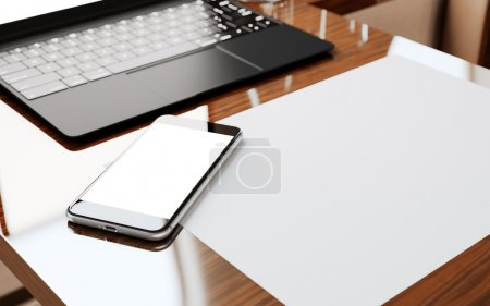Photo for Modern Smartphone Blank Screen Wood Table Inside Interior First Class Airplane Jet.Empty White Display Background Ready Corporate Information.Cabin Generic Design Notebook.Crops Mockup.3d rendering - Royalty Free Image