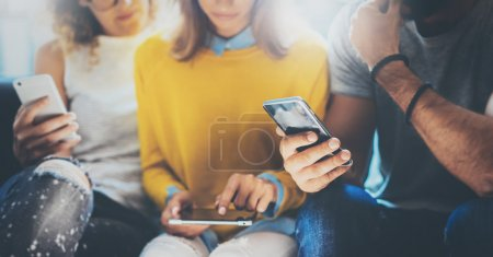 Group Using Hands Modern Smartphone