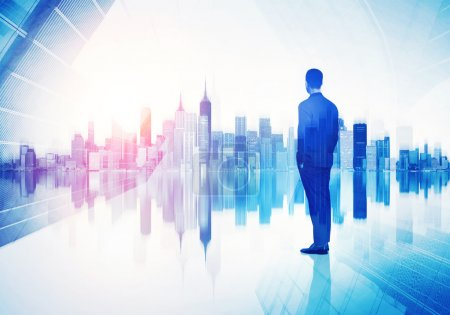 Photo for Double exposure of business man and city - Royalty Free Image