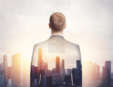 Businessman and megalopolis
