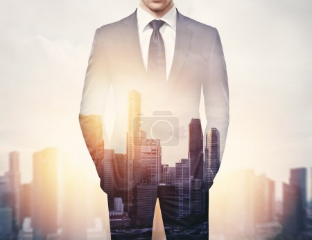Photo for Double exposure of businessman and city, cropped view - Royalty Free Image