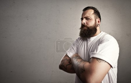 Photo for Bearded man wearing white t-shirt - Royalty Free Image