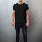 Man in black t-shirt