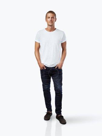 Man wearing white t-shirt.