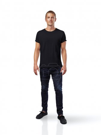 Man wearing black t-shirt.