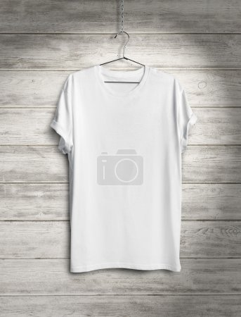 Blank t-shirt on wood wall