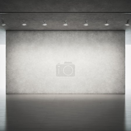Floor and concrete wall with spotlights