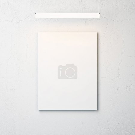 White concrete wall with blank poster