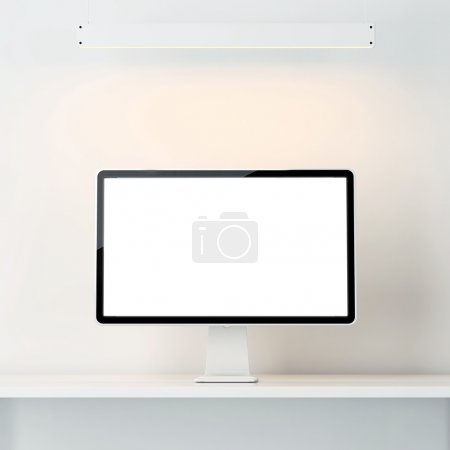 white interior with computer display
