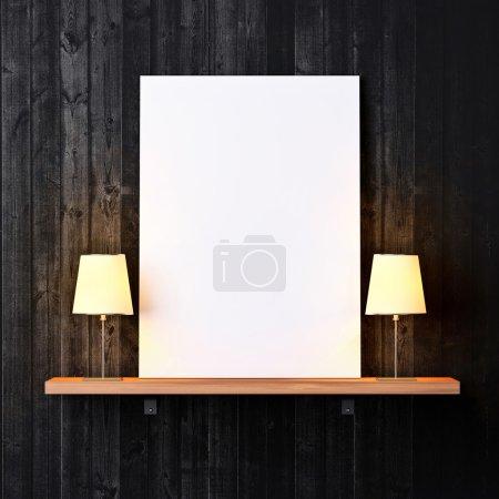 Foto de Estante en una pared con cartel blanco y lámparas - Imagen libre de derechos