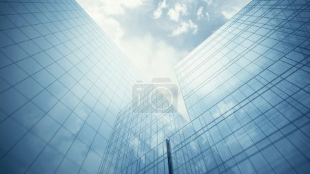 Blue glass walls of skyscraper