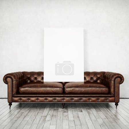 Interior with sofa and white poster
