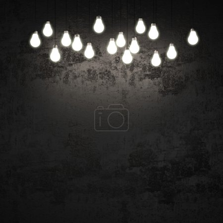 Black wall with light bulbs