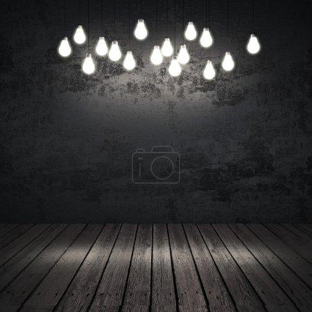 Black interior with light bulbs