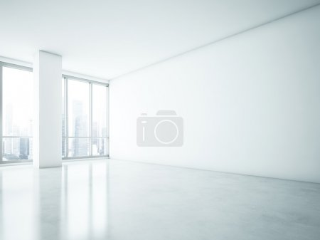 White interior with blank wall