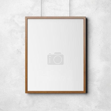 Foto de Imagen en blanco en la pared. marco de madera . - Imagen libre de derechos