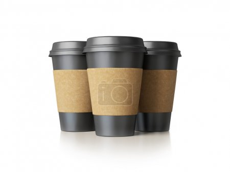 Three black paper cups isolated
