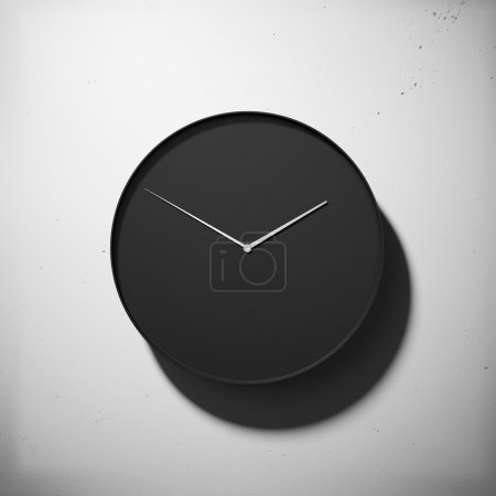Photo pour Horloge contemporaine noire sur fond de mur en béton - image libre de droit