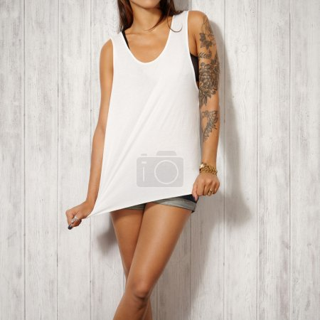 Woman in white t-shirt