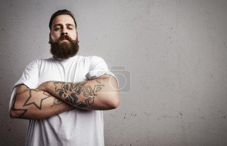 Tattooed bearded man