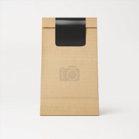 Recyclable paper bag with sticker
