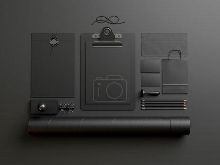 Black elements on black paper background