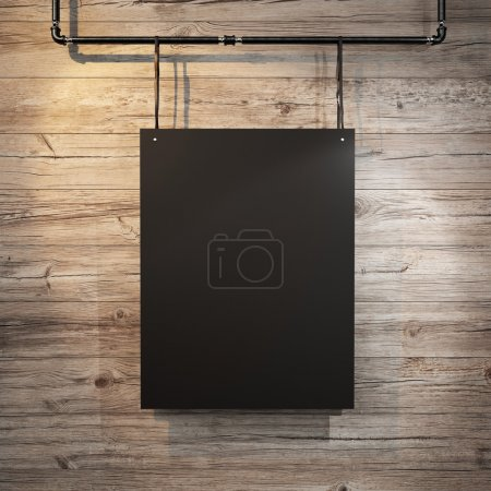 Black blank poster hanging on leather belt