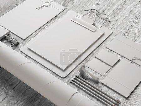Set of stationery elements on wood background