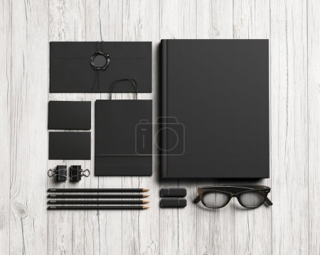Set of black stationery elements