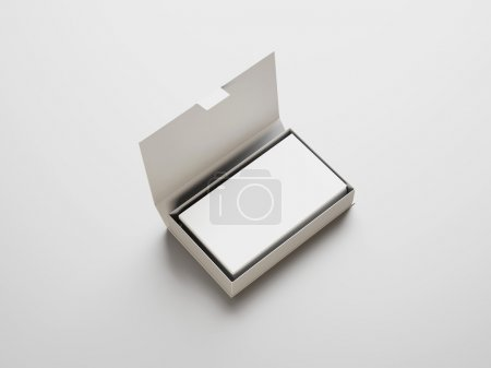 Photo for Stack of business cards in the box - Royalty Free Image